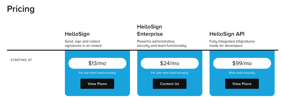 Hellosign pricing