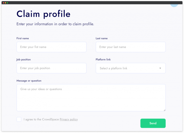 claim profile at crowdspace